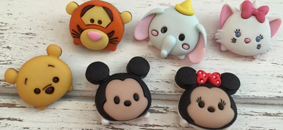 Tsum Tsum Disney Buttons, Packaged Novelty Buttons by Dress It Up Jesse James, Shank Back Buttons, Embellishments