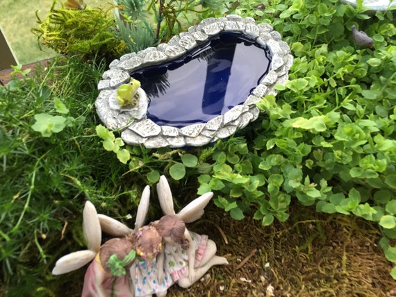 Miniature Pond, Pollywog Pond With Frog, Stone Wall, Fairy Garden Accessory, Garden Decor, Miniature Gardening, Fiddlehead Pond