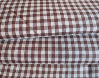 36W Vintage BROWN Gingham TINY Check Cotton Fabric 4 yards