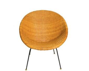 Mid Century Wicker Basket Chair/ Local Pickup