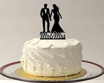 Wedding Cake Topper Mr and Mrs Silhouette Topper, Silhouette Wedding Cake Topper, Groom in Tux Cake Topper, Romantic Wedding Cake Topper