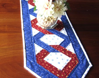"Quilted Table Runner ""Red, White and Blue"" Rectangular Table Topper, Patriotic Mini Quilt, Quilted Patchwork, Quiltsy Handmade Table Mat"