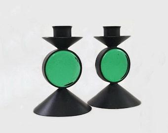 Vintage Candle Holders Candle Sticks Metal Glass Ystad Metall Sweden