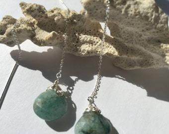 Threader Earrings, Green Faceted Gemstone, 4 Inch Threaders in Sterling Silver