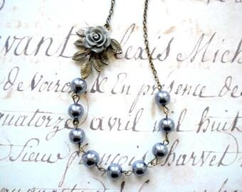 Grey Bridesmaid Jewelry Grey Pearl Necklace Grey Wedding Jewelry Pearl Bridesmaid Necklace Woodland Wedding Jewelry Grey Rose Necklace