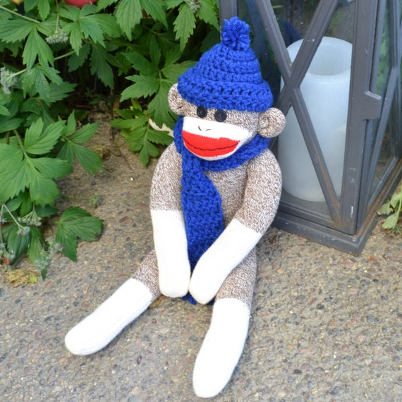 Large Sock Monkey Doll, Crochet Blue Hat and Scarf, Choice of Sock Monkey Color