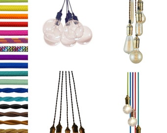 5 Cluster Any Colors - Modern Pendant light Industrial Chandelier Hardwired ceiling fixture. Antique Edison Bulbs Hanging Pendant Light