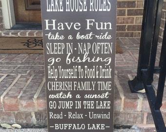 Lake House Rules Custom Wood Sign ~ Lake House Decor ~ Family Rules Sign ~ Lakehouse Rules Sign ~ Lake House Wall Art ~ Vacation Home Sign