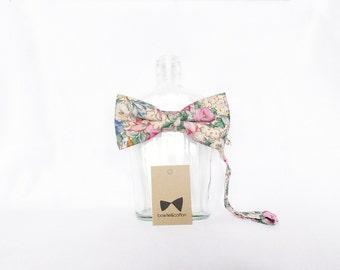 Kelly - Pink/Peach Floral Men's Pre-Tied Bow Tie or Self-Tied Bow Tie