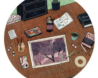 still life: drawing table (print)