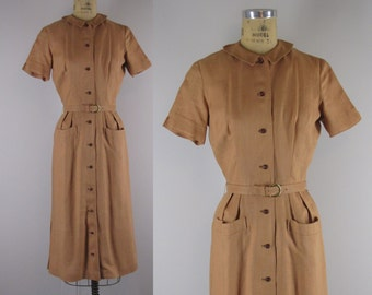 Vintage 1950s Dress l 50s Irish Linen Dress