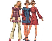 70s Boho Mini Dress Smock Pants Pattern Simplicity 9834 Size 11 JP Bust 34 inches