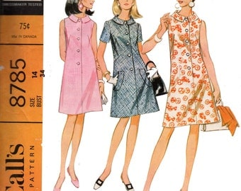 McCall's 8785 Mod 60s Tent Dress Vintage Sewing Pattern Size 14 Bust 34 inches
