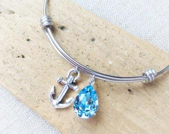 Anchor Bracelet, Beach Bracelet, Adjustable Bangle Bracelet, Anchor Charm, Swarovski Aquamarine Blue Crystal, Stainless Steel, Beach Jewelry