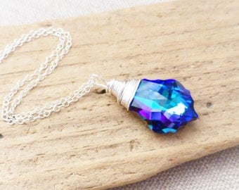 Swarovski Crystal Necklace, Purple, Light Blue Crystal Pendant, Bridesmaid Jewelry, Gift for Her, Prism Necklace, Bridesmaid Necklace, Gift