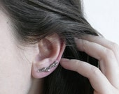 READY to SHIP - Lavender Branch Silver Ear Climber / AMARANTA Collection
