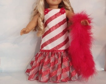 18 inch doll clothes - #233 Candy Cane Gown handmade to fit the American Girl Doll