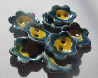 Blue and Yellow Flower Ceramic Buttons