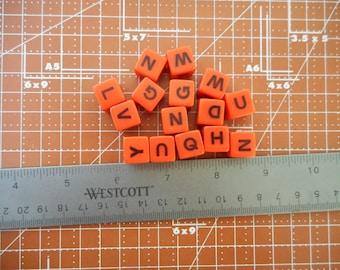 15 Vintage Letter Dice Game Dice Letter Cubes Orange and Black Dice