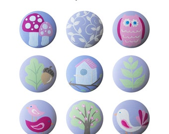 Hand Painted Knob - Children's Custom Hand Painted Woodland Garden Forest Animal Children's Drawer Knobs Pulls or Nail Covers for Kids