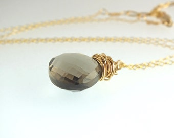 Smoky Quartz, Gold Necklace, Brown Stown Necklace, Brown Gemstone, Smoky Quartz Jewelry, Brown Gemstone Necklace, gifts under 50,Eco Fashion