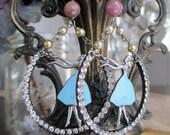 belles of the ball - rhinestone hoop earrings ruby gemstones vintage blue enamel dancing ballerina girls glass pearl by the french circus
