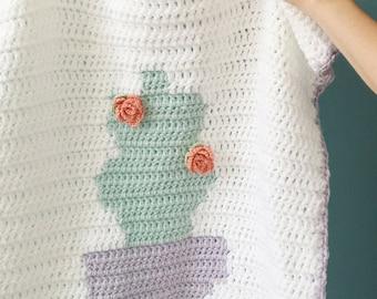 Crochet Baby Blanket, Baby Blanket Pattern, Crochet PDF Pattern, Cactus Blanket, Succulent Pattern Design, Baby Stroller Blanket