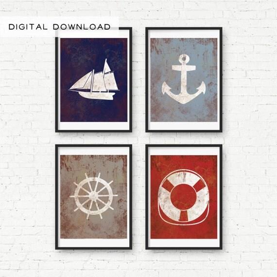 Vintage Anchor Wall Decor : Vintage nautical print wall decor digital download big