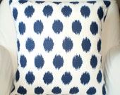 Navy Blue White Pillow Covers, Decorative Throw Pillows, Cushions, Premier Navy Blue White Ikat Dots Jo Jo Couch Bed, One or More ALL SIZES