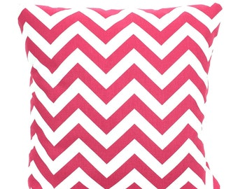 Pink White Chevron Pillow Covers, Cushion Covers, Decorative Throw Pillow Pink White Hot Pink Chevron Zig Zag Couch, One or More ALL SIZES