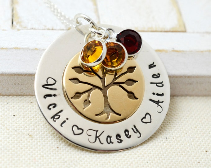 Family Tree Grandmothers Necklace, Family Birthstone Necklace For Mom, Personalized Bronze Family Tree Necklace, Nana Birthstone Necklace