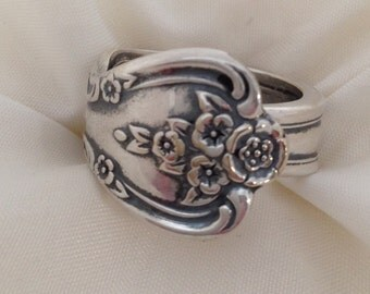 Spoon Ring Magnolia 1951 Vintage Silverplate Choose Your Size Silverware Jewelry
