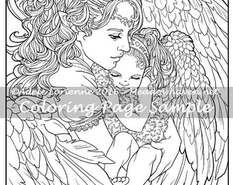 """Art of Meadowhaven Fantasy Coloring Page Download: """"A Mother's Love"""""""