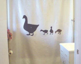 duck and ducklings shower curtain bird farm animal mother baby family love nature spring bathroom kids bath curtains custom size long wide