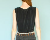 RESERVED!  1970s Pola Fashion USA Boxy Black Pleated Wooden Bead Women's Crop Tank