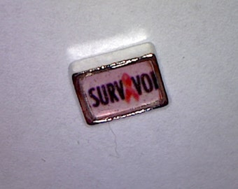 Floating Charm-Cancer Awareness-Survivor - for Floating Glass Lockets-Free Shipping