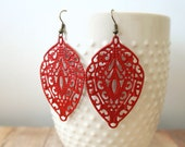 A P P L E - Apple Red, Lace Handpainted Metal Filigree, Antique Bronze Dangle Earrings