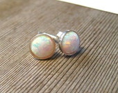 White opal Stud Earrings, Sterling Silver Post, October Birthstone Jewelry, Small Opal Earrings, 6 MM Round Stud Earrings, Bezel Set