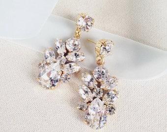AUDREY- Swarovski Bridal Earrings- Crystal Drop Earrings- Bridal Earrings- Crystal Earrings- Chandelier Bridal Earrings