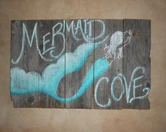 Mermaid Cove sign, Hand Painted Original, Glittered, Beach Barnwood RUSTIC