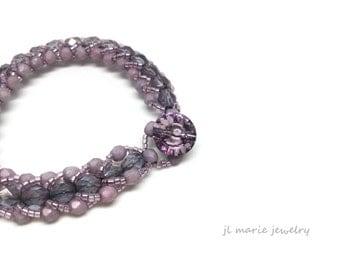 purple czech glass bracelet . delicate . orchid . lilac . gift idea .