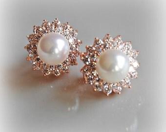 Rose Gold Pearl Earrings, Crystal Studs, Bridal Earrings, Bridal Jewelry, Wedding Jewelry, Bridesmaid Earrings - GINA
