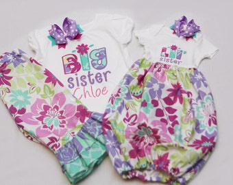 Big Sister Shirt and Matching Ruffle Pants and Coordinating Little Sister Bodysuit Gown - With Coordinating Hairbows