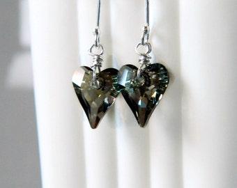 Green Heart Earrings Iridescent Green Swarovski Crystal Earrings Crystal Heart Earrings Sterling Silver Wire Wrapped Dark Green Earrings