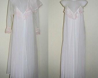 Vintage White Chiffon Peignoir Set, Peignoir Set, 1980s Peignoir Set, Chiffon Peignoir, Belimage, Wedding, Romantic