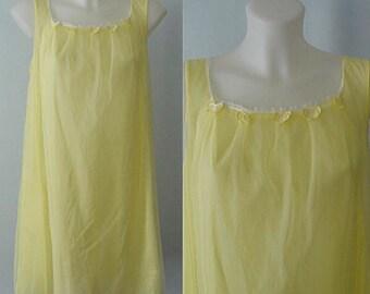 Vintage Nightgown, Vintage Lingerie, 1960s Nightgown, 1960s Vassarette, Yellow Chiffon Nightgown, Chiffon Nightgown, Romantic
