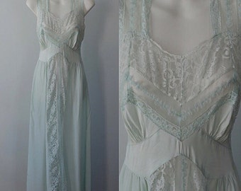 Vintage Mint Green Nightgown, Vintage Nightgown, Covelle Lingerie, 1940s Nightgown, 1940s Lingerie, Nightgown