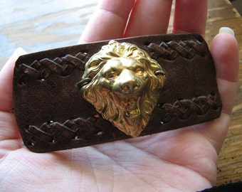 Leather hair barrette | brass lion head | gold headpiece | french hair clip