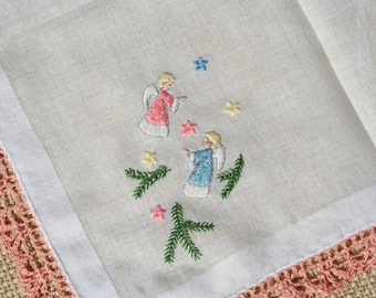 Vintage Christmas Angel Hankie Handkerchief Pastel Embroidered