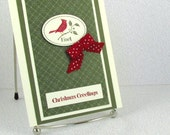 Christmas Card Handmade Holiday Xmas OOAK Christmas Greetings Card One of a Kind Noel Cardinal on Artichoke Green Card